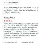 A review for great service written by M-AV & Electromat Business owner